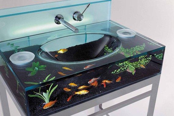 fish tank bathroom sink