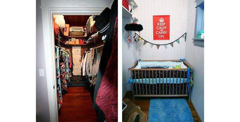 baby room built into a closet