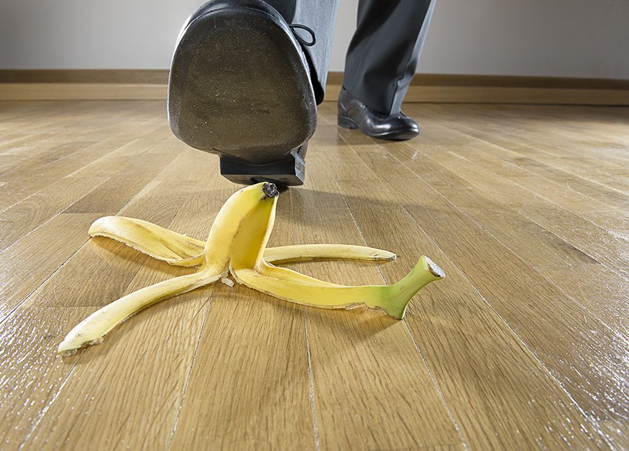 Man to step on banana peel
