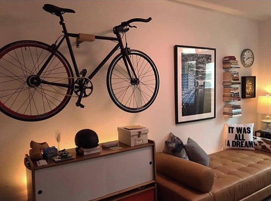 bike stored on a wall